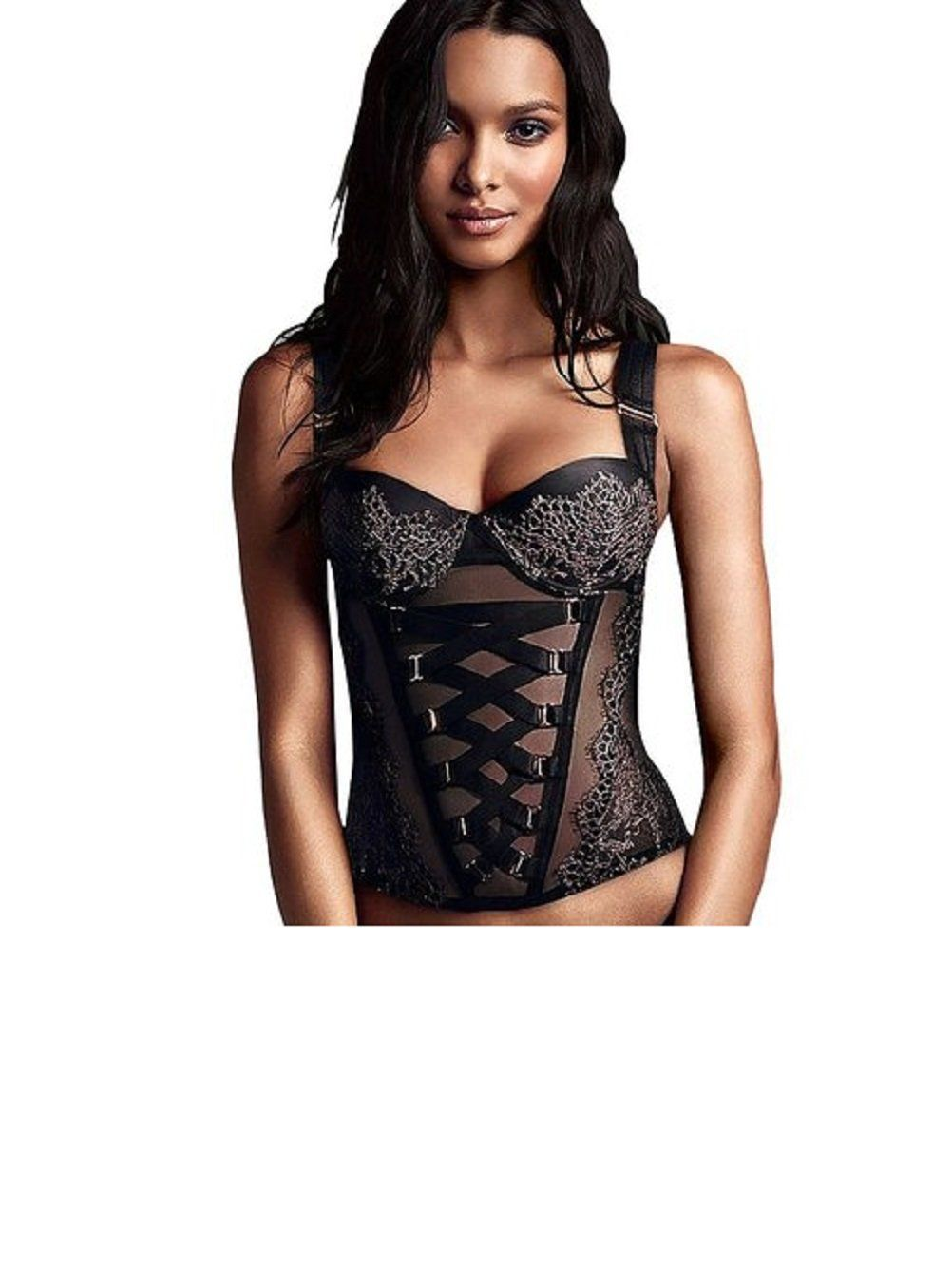 Victoria's Secret CrissCross Chantilly Lace Corset 36C Black/Gold ...
