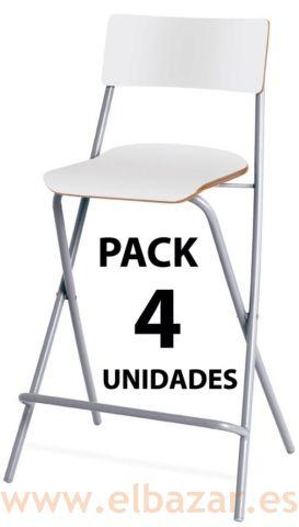 Taburetes Plegables Cocina | Pack 4 Taburetes Baralt Plegable Con Respaldo Madera Y Metal