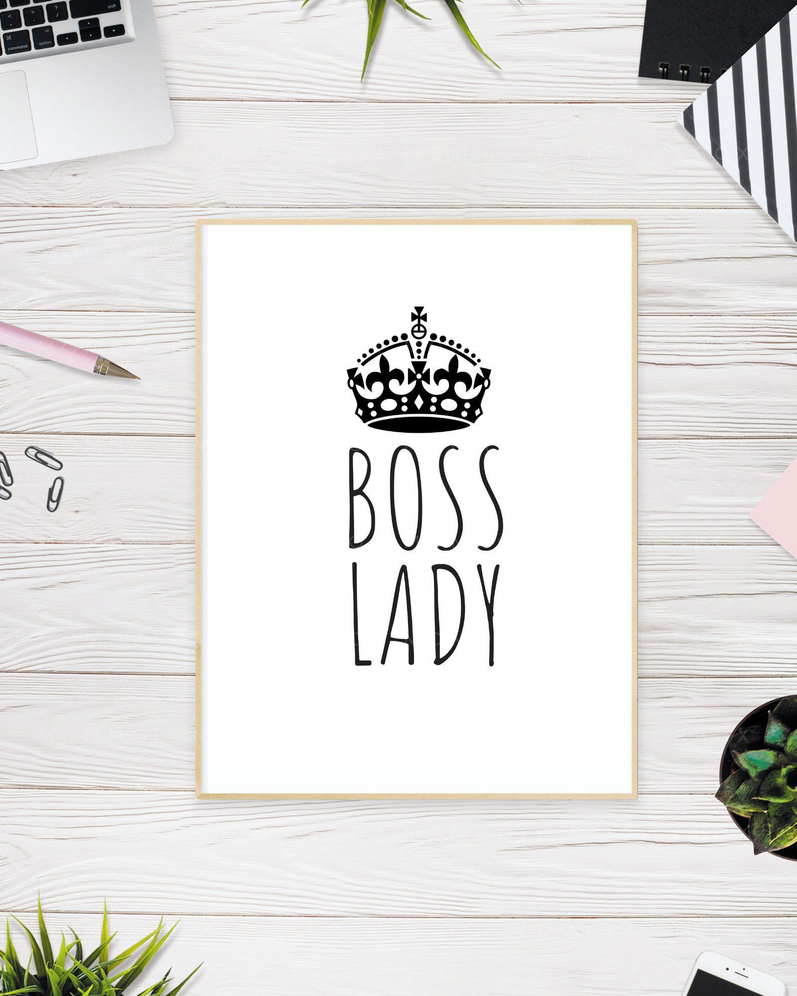 Boss Lady Feminist Poster Wall Art Printable Office Decor