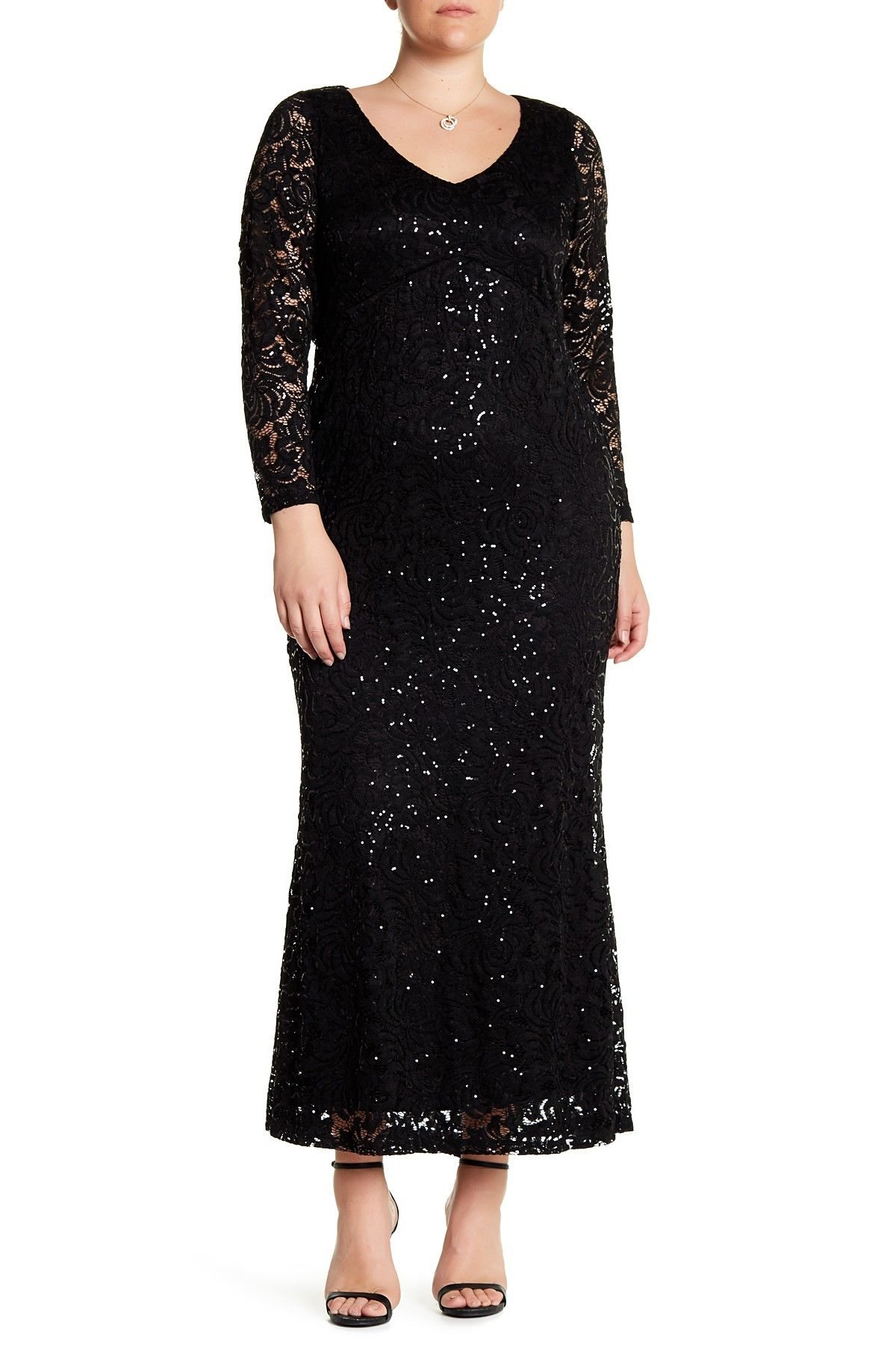 Marina long sleeve sequin long dress plus size products