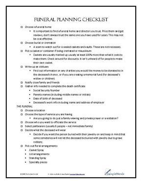 funeral planning checklist pinterest funeral planning checklist