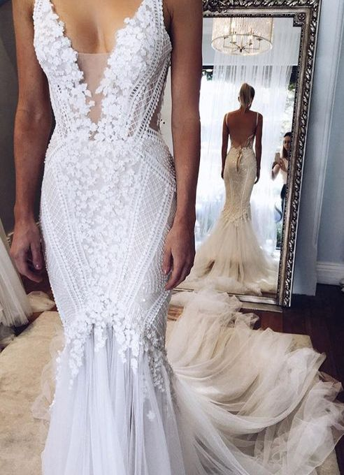 Mermaid Style Straps Chapel Train Wedding Dress Backless with Lace ...