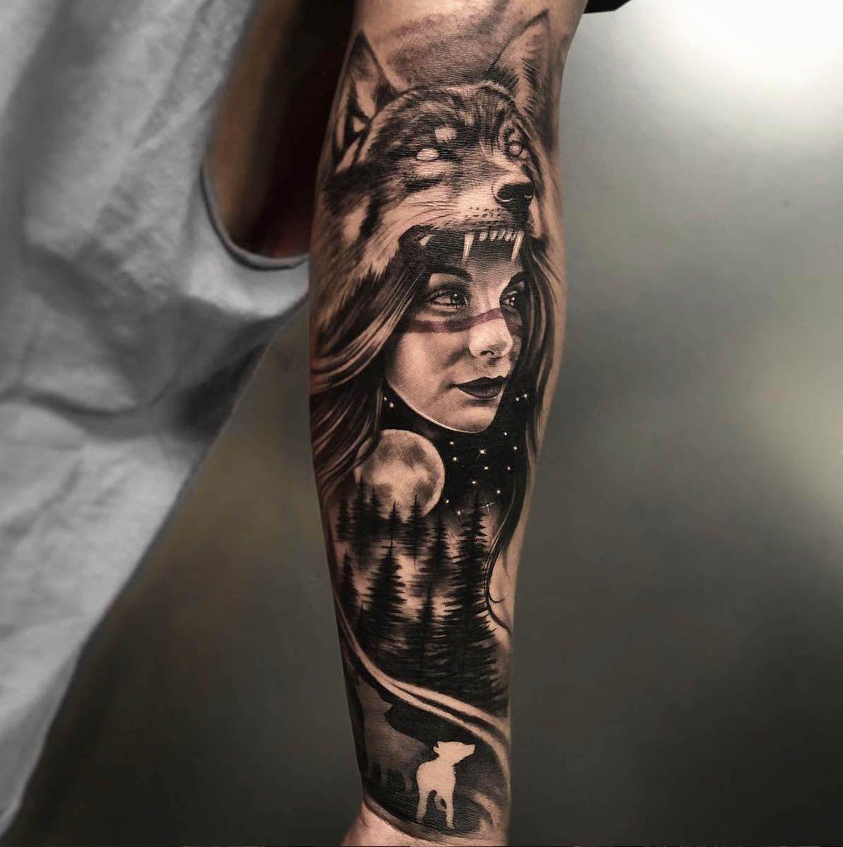 Pin By Martin Londra On Tattoo Ideas In 2020 Wolf Tattoos Headdress Tattoo Sky Tattoos