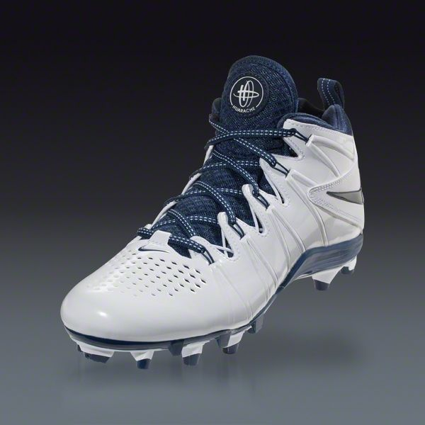 Buy Nike Huarache 4 Lax - White/White/Navy Lacrosse Cleats on LACROSSE.