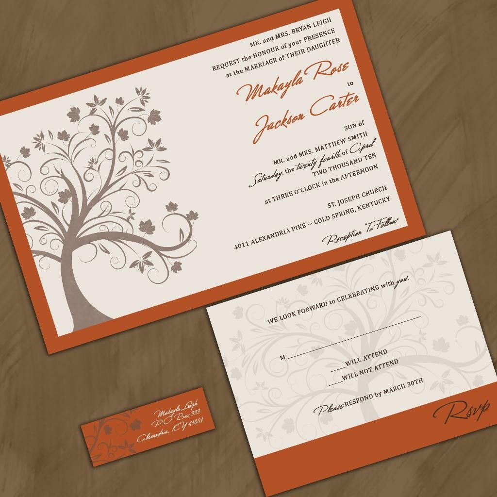 custom wedding invitations fall maple tree rich autumn wedding invitation suite with rsvp cards and address labels - Fall Themed Wedding Invitations