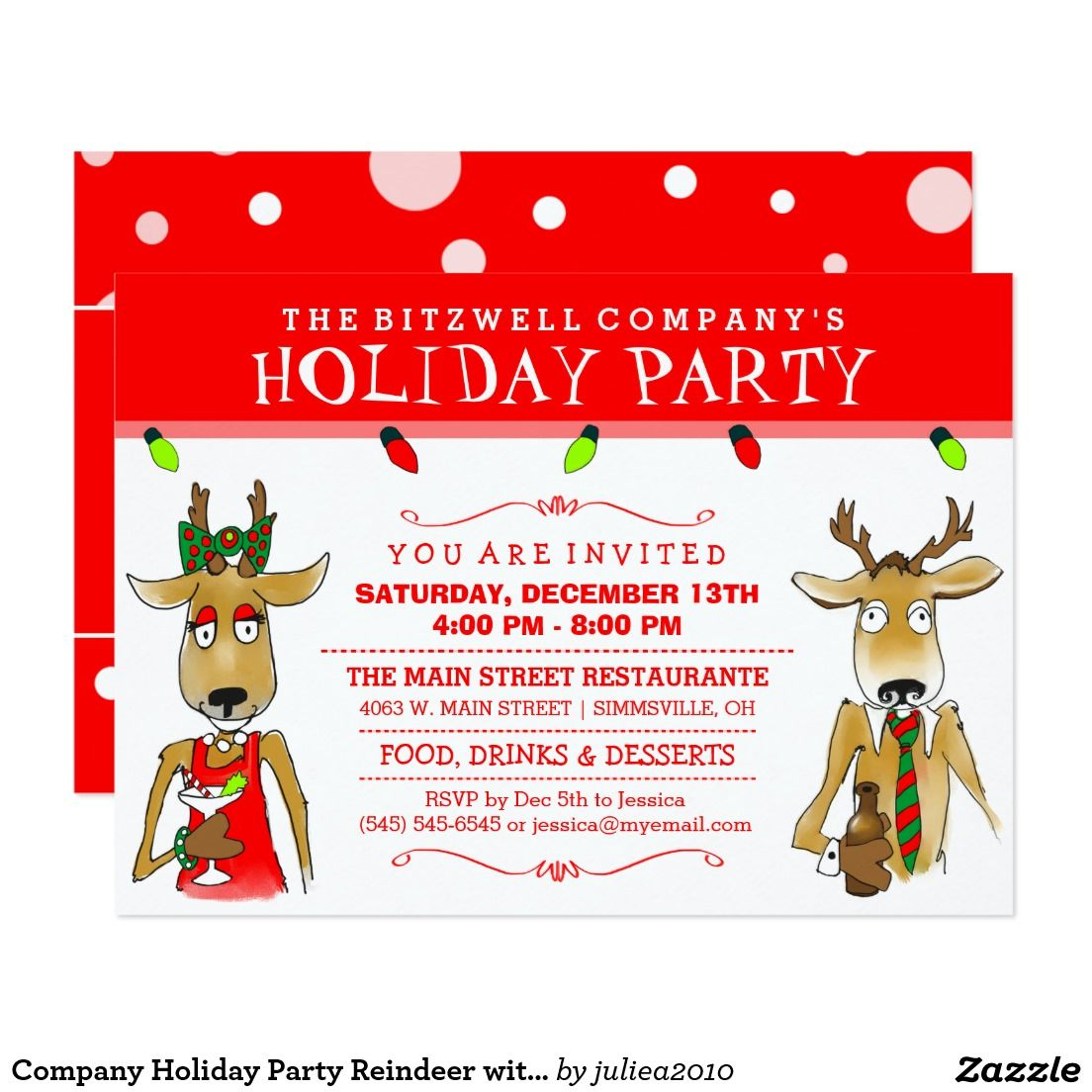 Company Holiday Party Reindeer with Drinks Invite | Christmas Party ...