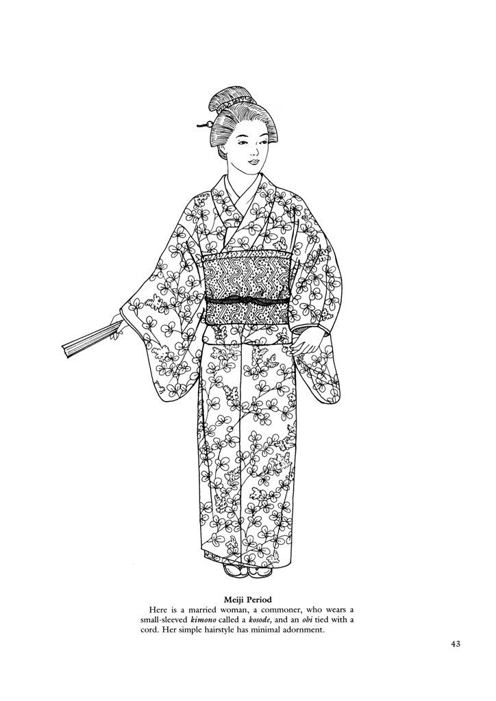 Japanese clothing colouring pages. | Azië Kleurplaten | Pinterest ...