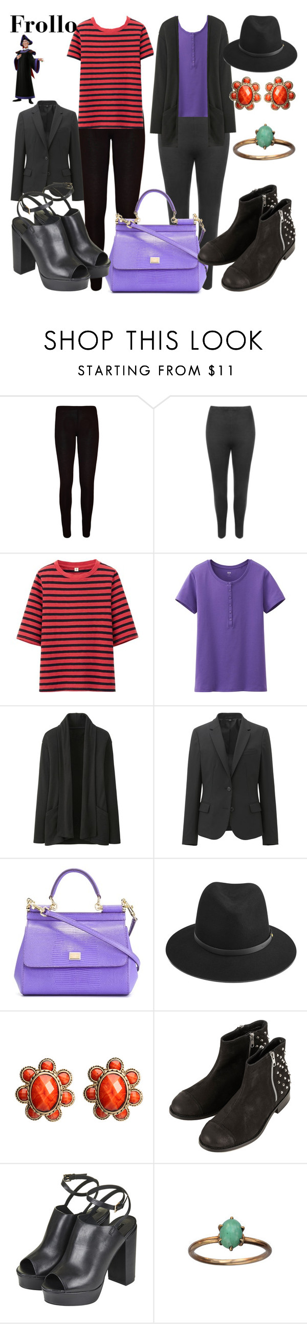 """Frollo"" by wonderlandofgeeks ❤ liked on Polyvore featuring WearAll, Uniqlo, Dolce&Gabbana, rag & bone, Amrita Singh, Topshop, disney, Frollo and thehunchbackofnotredame"
