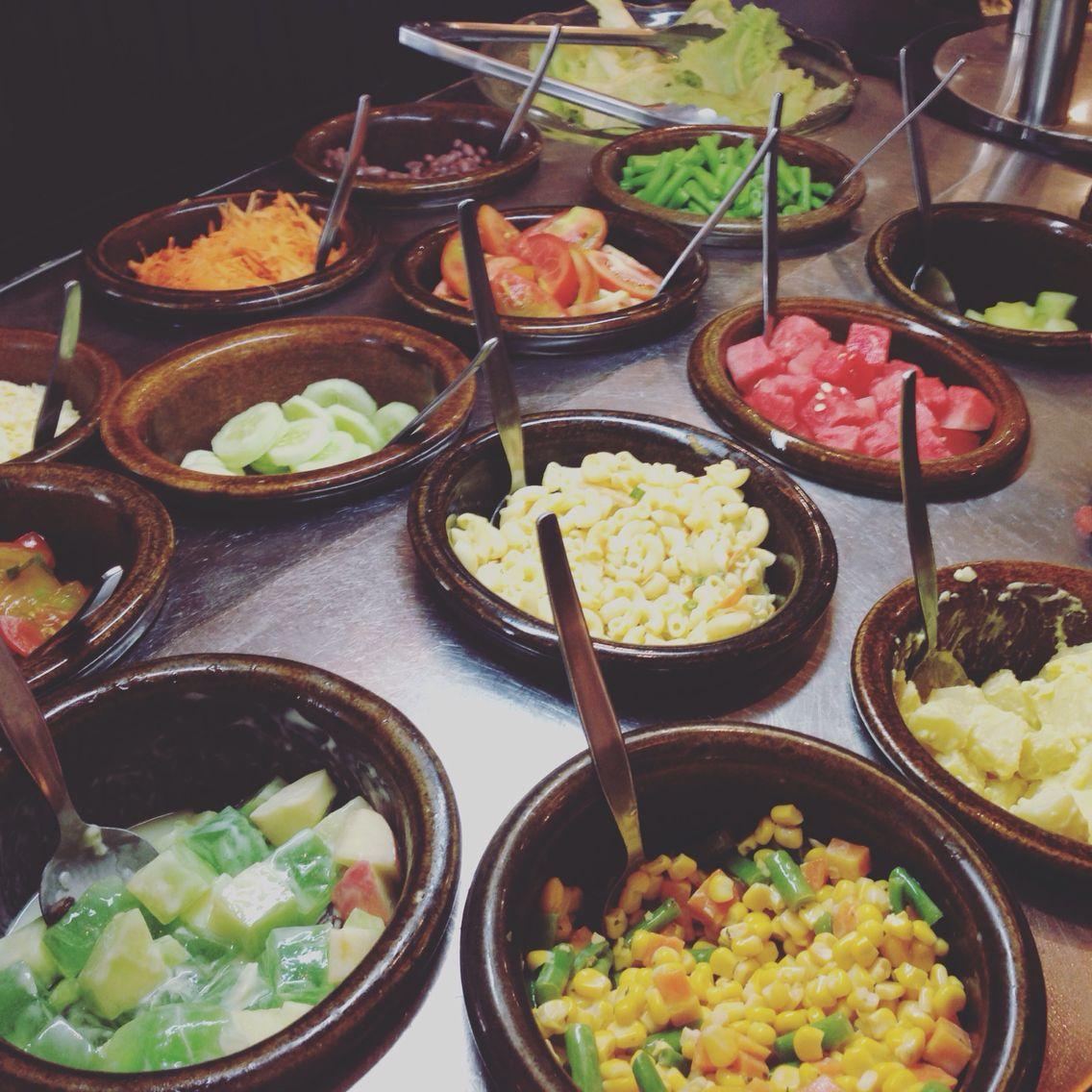 Salad bar pizza hut  Food dishes, Salad bar, Food