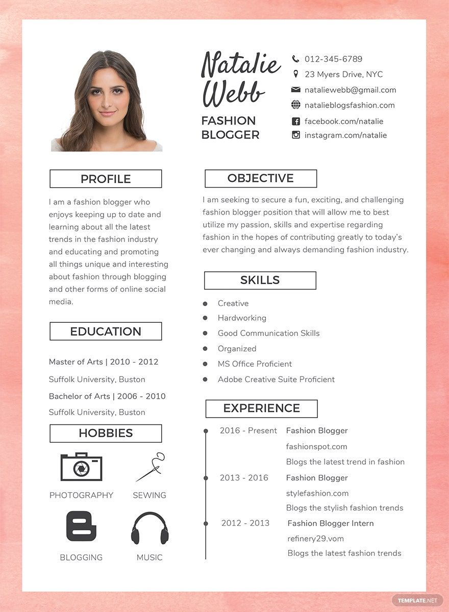 Free Best Fashion CV Template in 2020 Cv template free