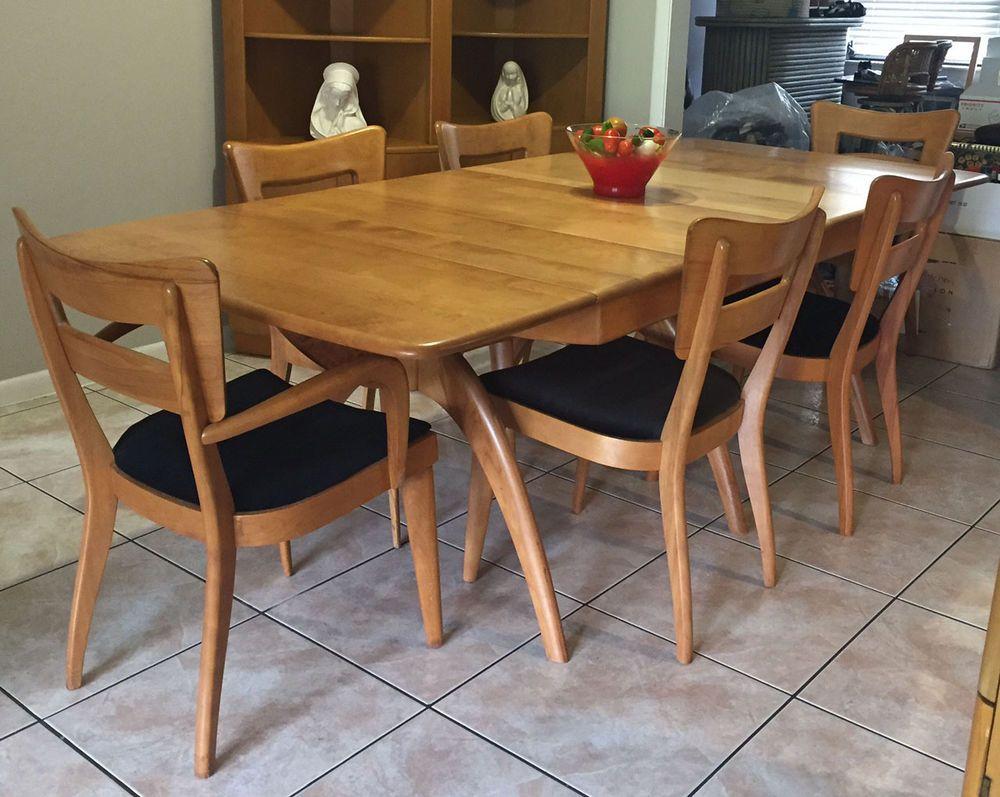 mid century modern heywood wakefield table whalebone dining room mid century modern heywood wakefield table whalebone dining room rare w inserts