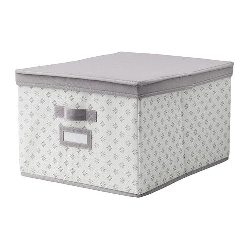 Superieur SVIRA Box With Lid, Gray, White Flowers Gray/white Flowers 15 ¼x19x11