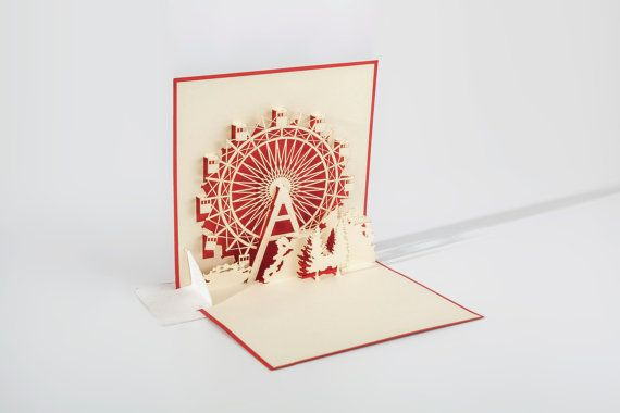 Pop Up Greeting Card Of Vienna Ferris Wheel Etsy Beautiful Birthday Cards Pop Up Art Greeting Cards