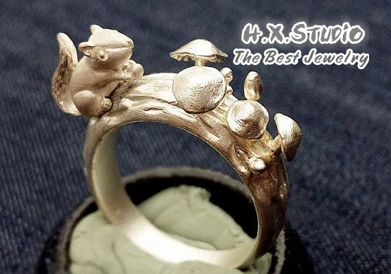Handmade Silver Squirrel and Mushroom Ring, Handmade 3D Sculpture Silver Ring, Unique Silver Ring, Wholesale Available