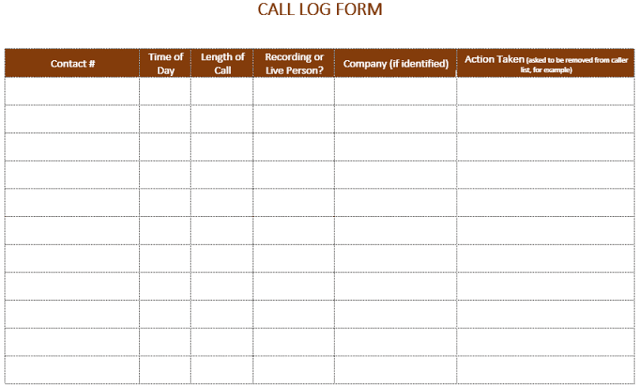 Printable Phone Call Log Template  Workouts Log Templates