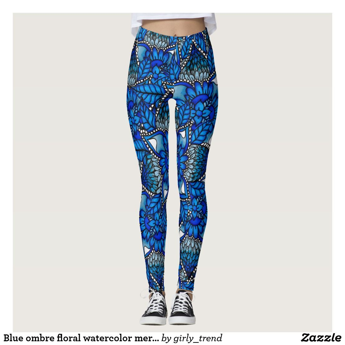 82c75456f2 Blue ombre floral watercolor mermaid mandala yoga leggings | Women's ...