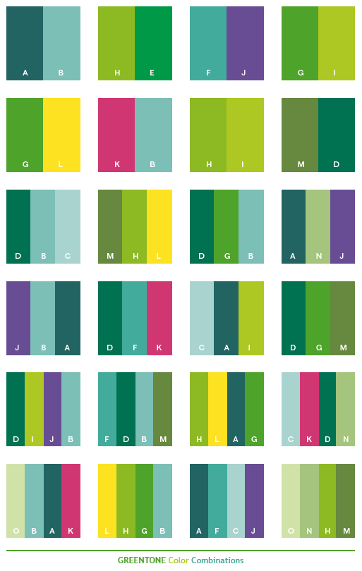 Green Tone Color Schemes Combinations Palettes For Print Cmyk And Web Rgb Html