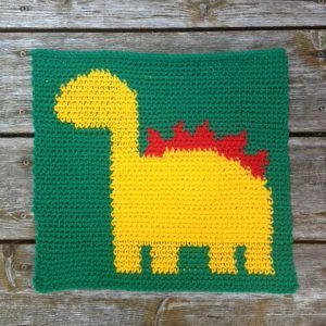 Big Boy Blanket #11 - Dinosaur! - Happily Hooked #crochetdinosaurpatterns