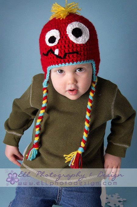 crocheted monster hat with earflaps - 0-5 years | crochet ...