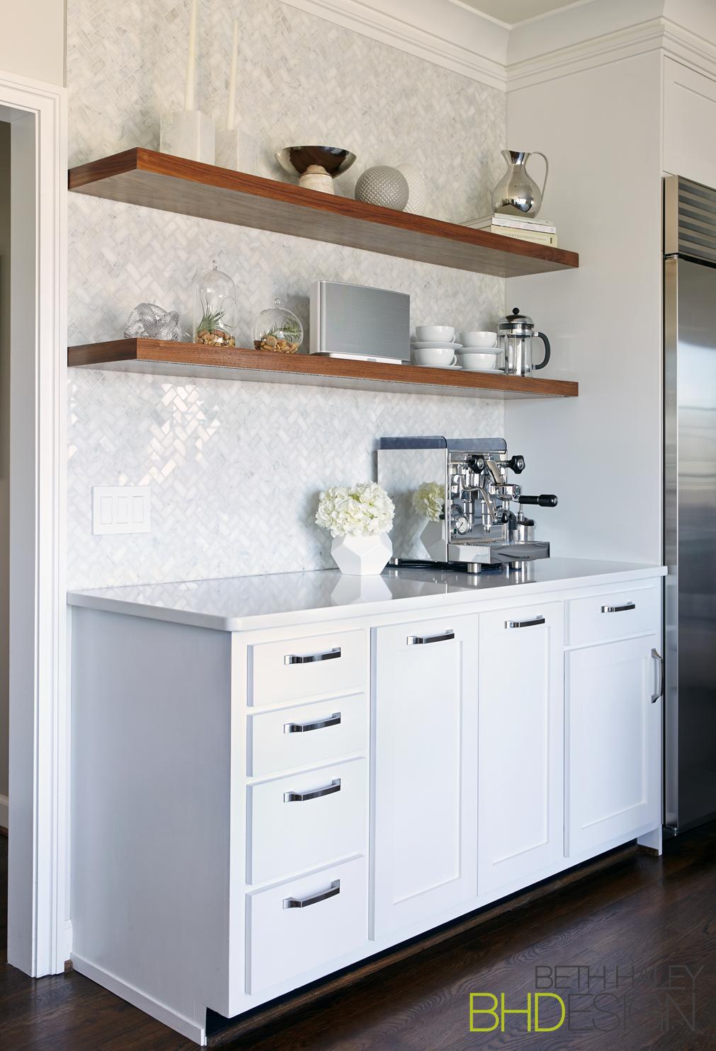 Coffee Bar with Herringbone backsplash and floating shelves | The ...
