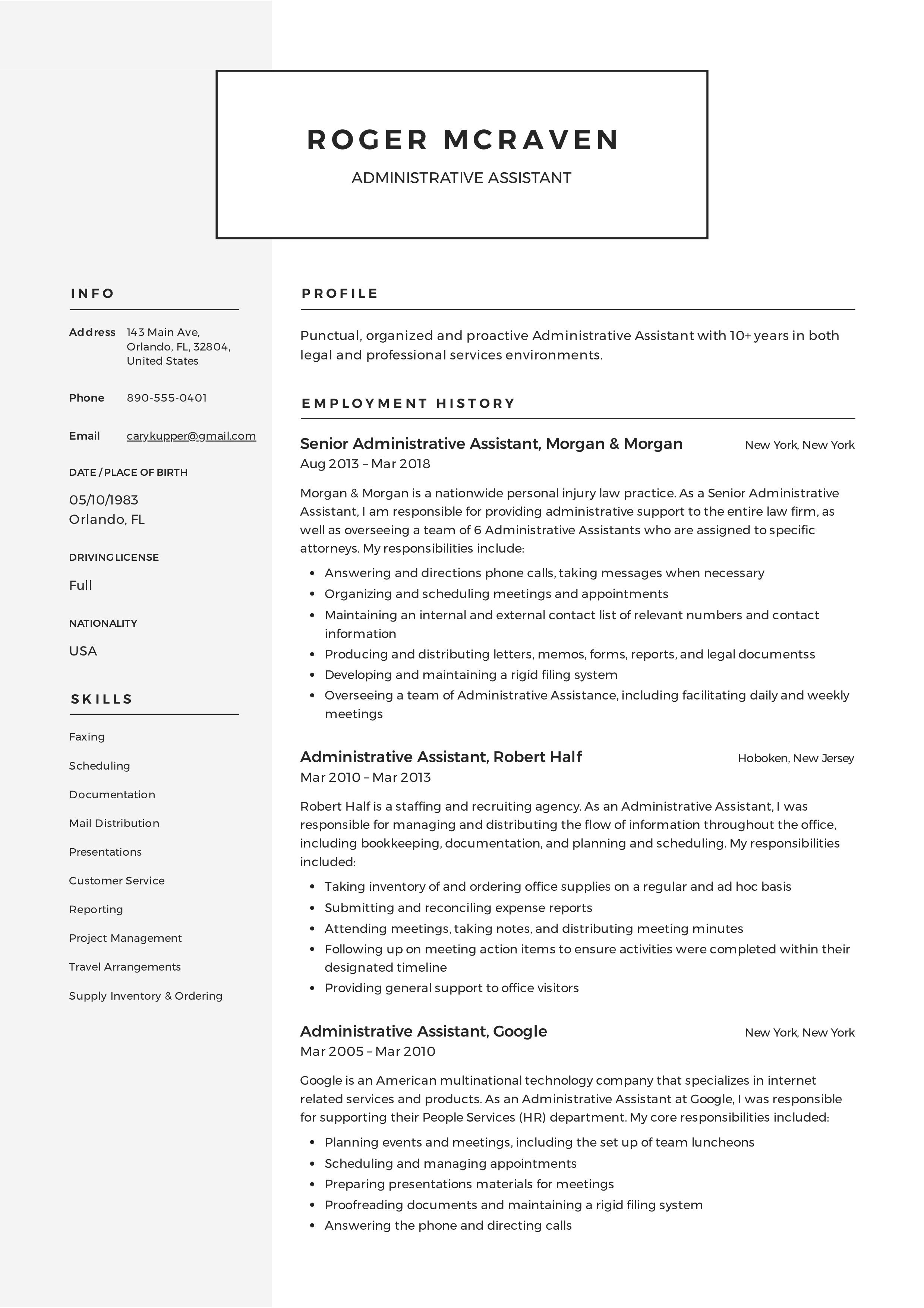 Free Administrative Assistant Resume Sample Template Example Cv Formal Design Administrative Assistant Resume Event Planner Resume Office Manager Resume