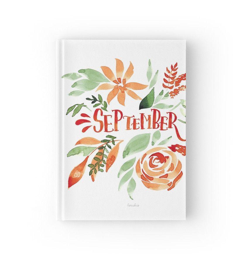 September Handlettering Mit Blumen Aquarell Notizbuch Von