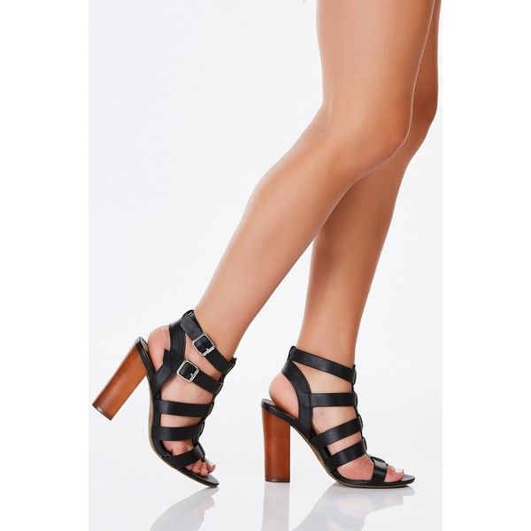 Wildin' Caged Block Heels ($25) ❤ liked on Polyvore featuring shoes, pumps, black, caged pumps, caged shoes, buckle shoes, summer shoes and summer pumps