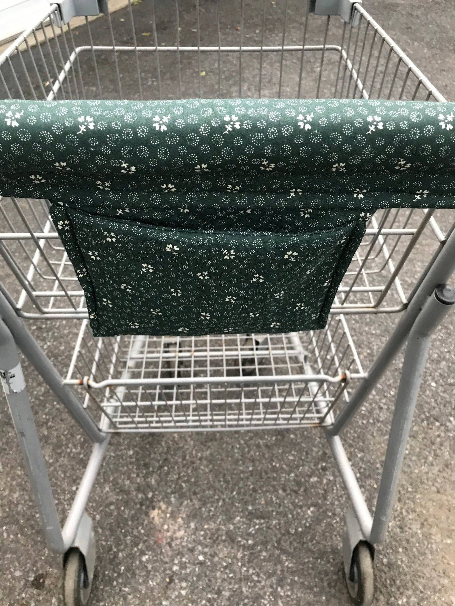 Shopping Cart Cover W Pocket Cart Handle Cover Hunter Green White Floral Cottoncart Cover Shopping Cart Covers W Pocket Handy Cart Cover In 2020 Shopping Cart Cover Diy Shopping Cart Cover Cart