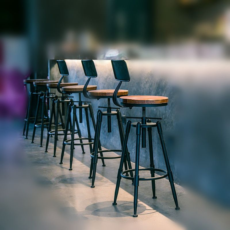 Rustic Industrial Vintage Retro Metal Breakfast Bar Stool Kitchen Counter Chair With Backrest Adjustable H Kitchen Bar Stools Vintage Bar Stools Kitchen Stools