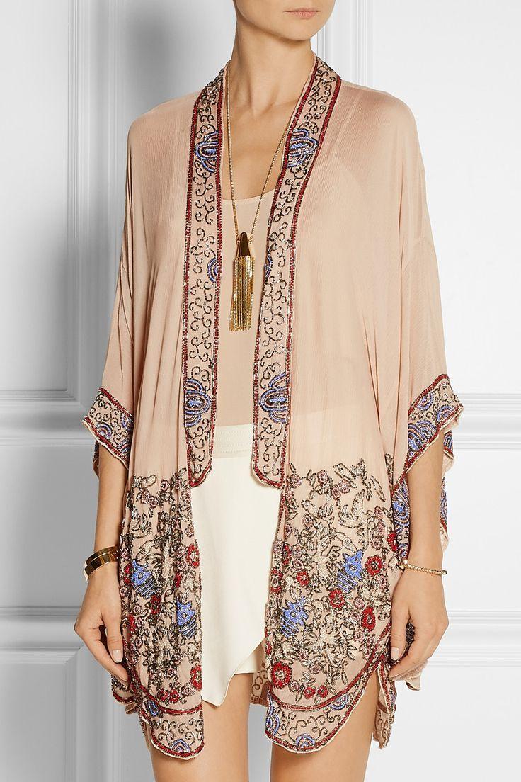 Anna Sui bead-embellished crinkled silk-chiffon kimono jacket ...