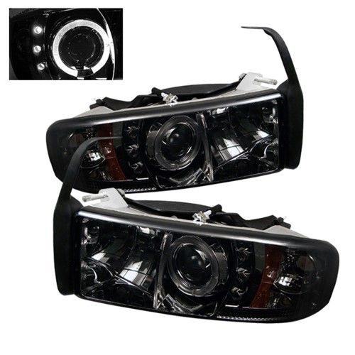 Smoke 1994 2001 Dodge Ram 1500 1994 2002 Ram 2500 3500 Osram Led Dual Ccfl Halo Angel Eyes Drl Daytime Running Lights Front Projector Headlights Headlamps Rep Leds