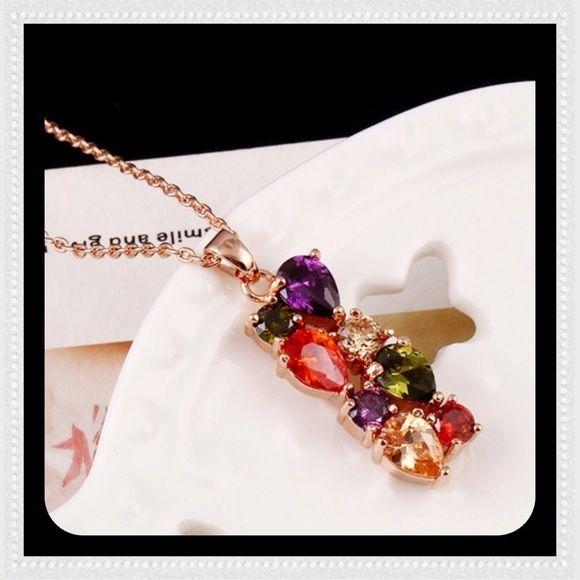 Sale Cubic Zirconia Necklace BRAND NEW!!! Multicolor cubic zirconia necklace / gold plated / NWOT Jewelry Necklaces