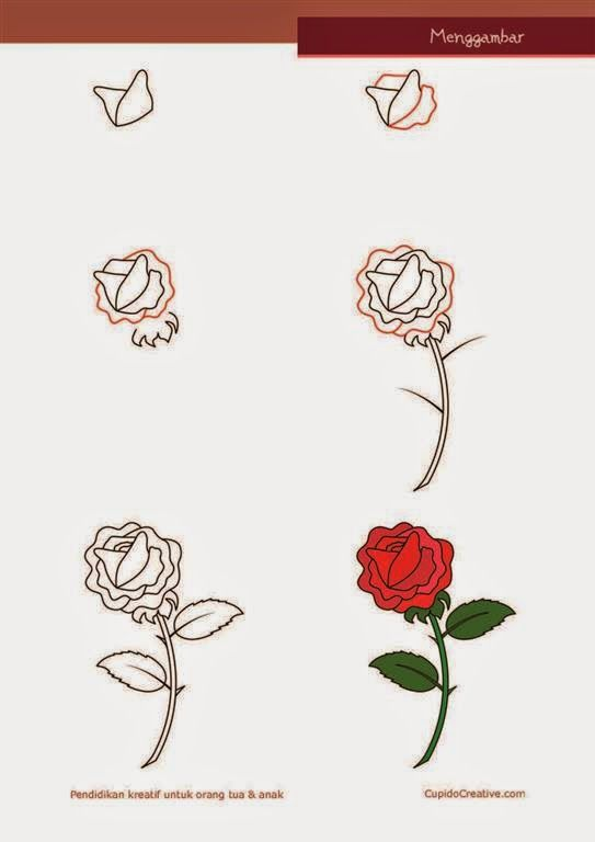 Kerajinan Anak Sd Paud Cara Langkah Menggambar Bunga Mawar