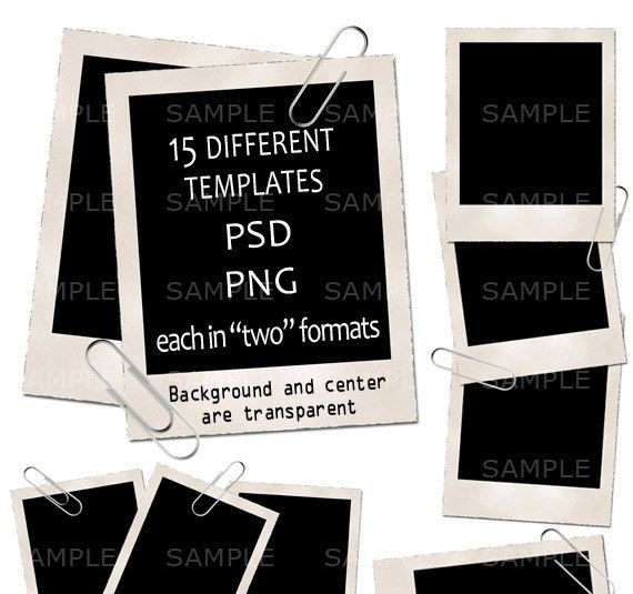 15 Vintage Polaroid Photo Frame Templates PSD PNG by AdoClipArt - abel templates psd