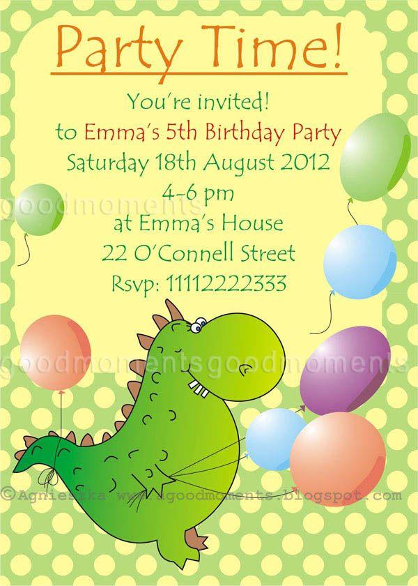 Birthdays Invitation,Cute Dinosaur And Colorful Balloon Background ...