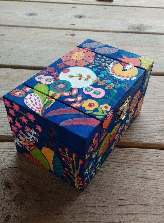 Hand Painted Wooden Box Treasure Box Keepsake Box By Palettestory Painted Wooden Boxes Hand Painted Wooden Box Jewerly Box Diy