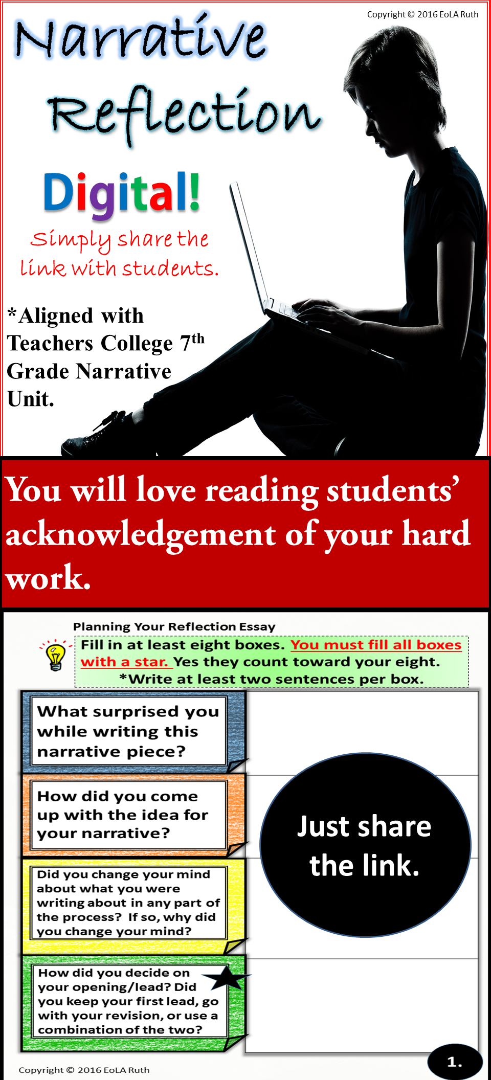 Narrative Reflection For Google Slides  Middle School English  Reflecting On The Writing Process Is The Best Way To Improve