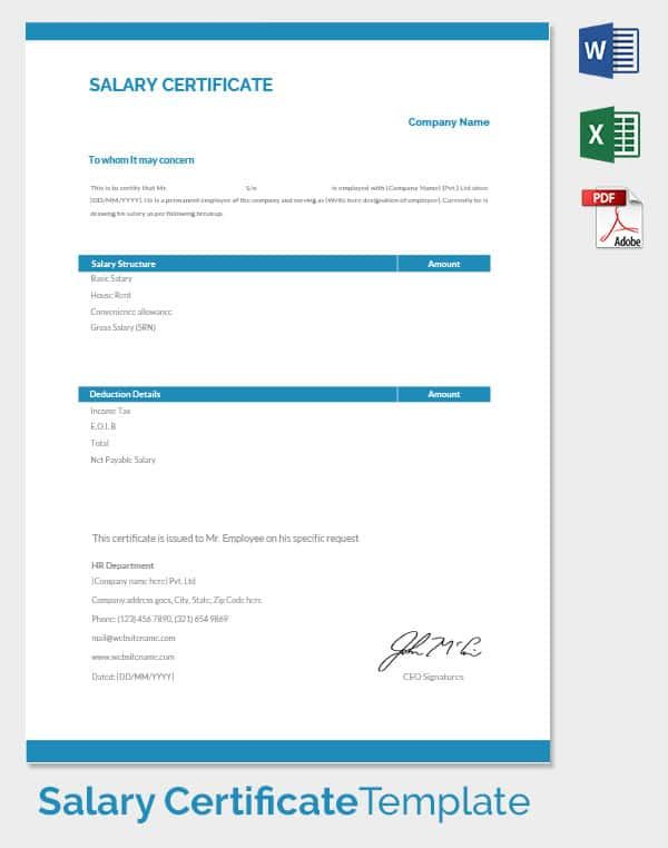 Monthly Salary Certificate Template Places to Visit Pinterest - salary certificate template