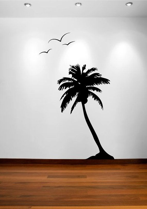 Palm Coconut Tree Wall Decal With Seagull Birds 1107 6 Feet