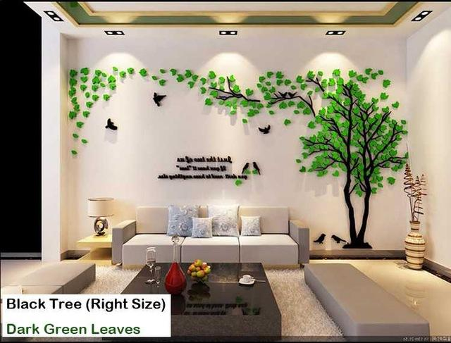 Leaves Birds Crystal Three Dimensional Tree Wall Stickers Acrylic Sofa Wall Stickers Decor For Home Diy Self Adh Sticker Decor Wall Stickers Tree Wall Stickers