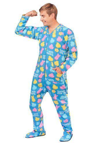 Hangin with My Peeps Print Footie Pajamas Fleece Drop Seat  4a8d2405b
