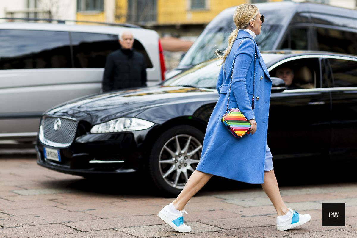 Zhanna Bianca wearing Maison Valention rainbow bag during Fashion Week Fall Winter 2015.
