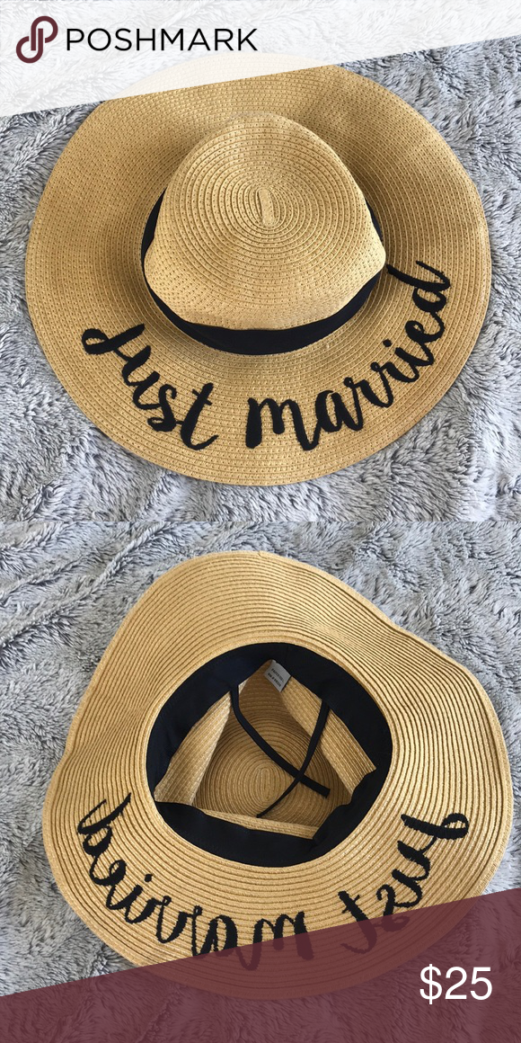 Just Married Large Floppy Honeymoon Hat Just married large floppy honeymoon hat Perfect for the beach Adjustable inside! Beautiful condition CC Exclusives Accessories Hats #beachhoneymoonclothes