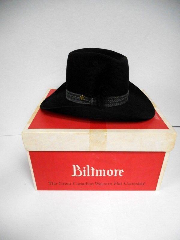 Vtg Black Silver Buckle Biltmore Felt Western Cowboy Hat Canadian 7 3/8 59cm NIB #Cowboy
