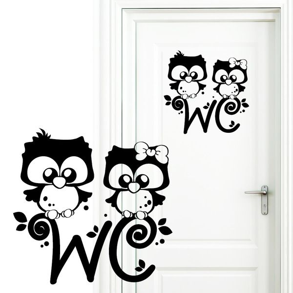 Wandtattoo WC Türaufkleber Eulen Badezimmer Silhouettes and Owl - wandtattoos fürs badezimmer