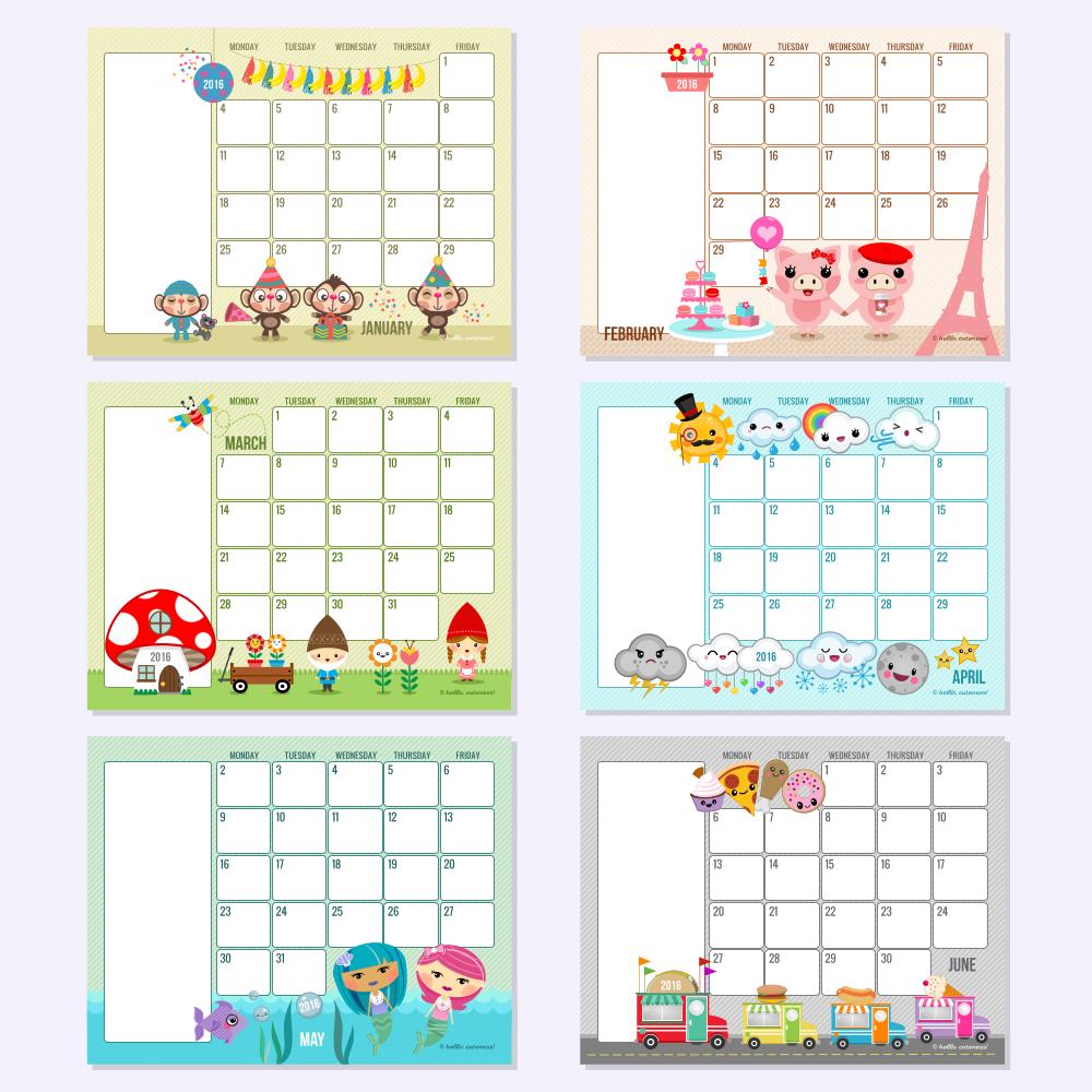 Landscape 2016 Image Format Weekday Calendars Hello Cuteness