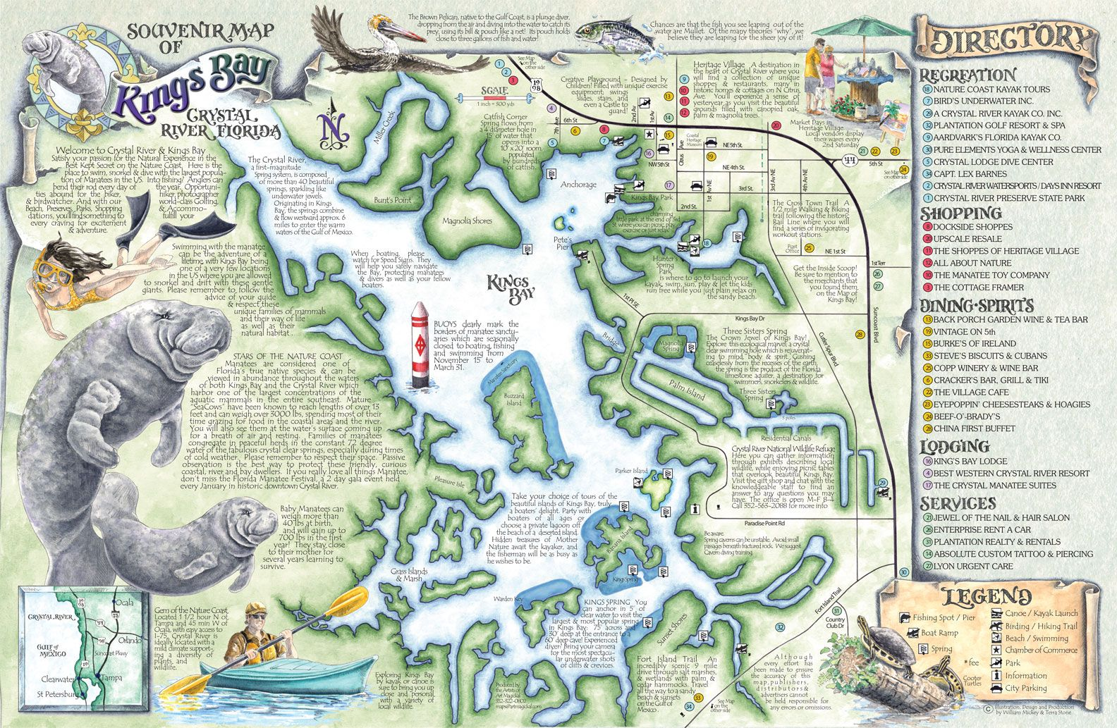 Springs In Florida Map.Crystal River S Spring Maps The Souvenir Map Guide Of Kings Bay