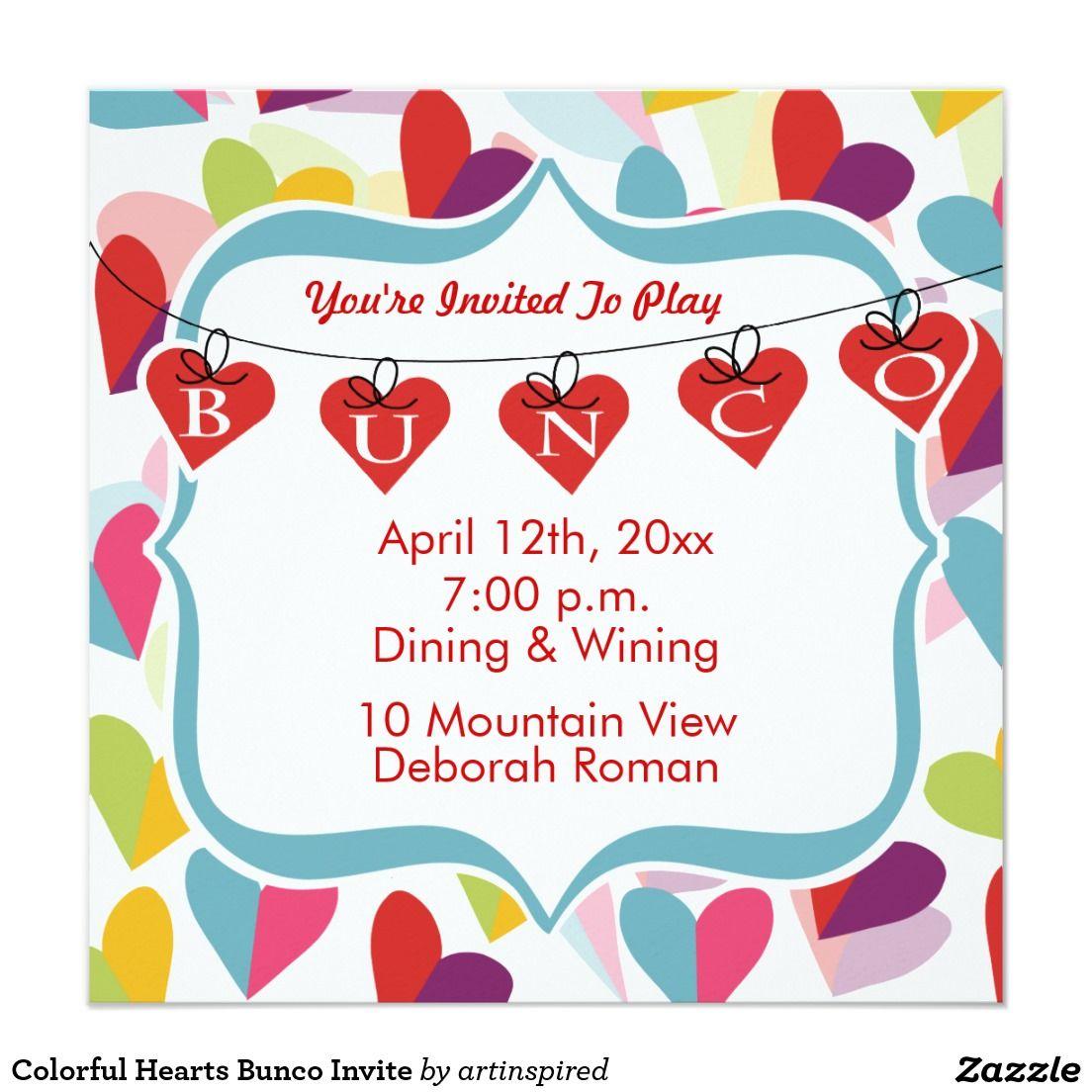Colorful Hearts Bunco Invite