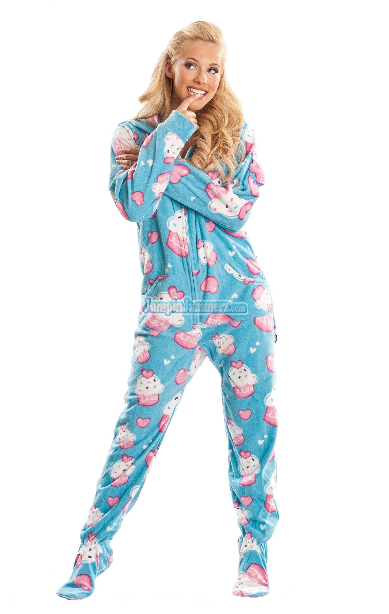 Blue Cup Cakes Footed Hooded Adult Pajamas. These one piece pjs feature a  hoodie db5d1324b