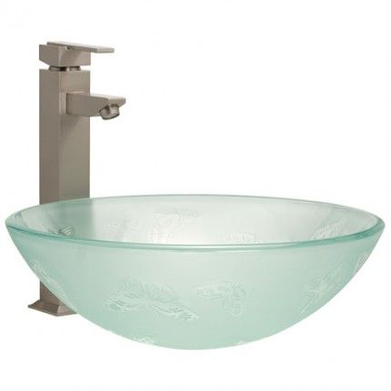 Butterfly Frosted Glass Vessel Sink bathroom remodel Pinterest - Vessel Sinks Bathroom